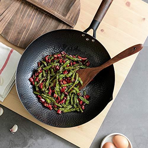 SMEJS utensilios de cocina tradicionales de hierro Wok PAN sin palanca sin recubrimiento (Size : Wok with lid)