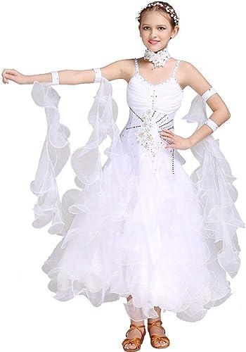 FENGHUAXUEYUE Jupe de Danse Moderne Jupe de Danse de Salon de Collier rétro Cheongsam Collier Jupe Jupe Valse,blanc,L