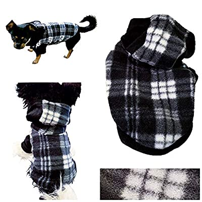 """Pretty Pampered Pets XXXS XXS XS S Small Teacup Chihuahua Clothes Clothing Puppy Dog Toy Breeds Hoodie Black and White Check Cosy Coat (XS- 6"""" VERY TINY, Black and White)"""