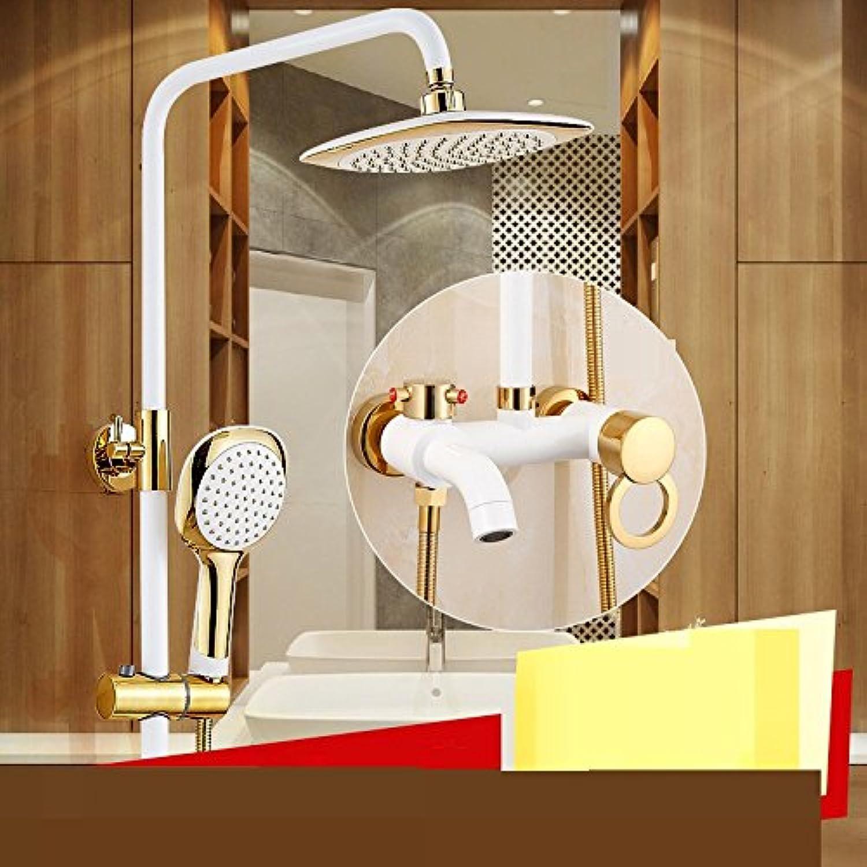 Bijjaladeva Wasserhahn Bad Wasserfall Mischbatterie Waschbecken Waschtischder Druck der Kupfer wei Lack Dusche Sprinklerwasser Leitungswasser Mischventil Hand zu Heben-gehalten