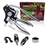 [2021 Upgraded] Wine Bottle Opener Set - ASIYUN Wine Corkscrew Kit With Foil Cutter, Wine Pourer, Wine Stopper And Drip Stop Ring, Professional Grade(Silver)
