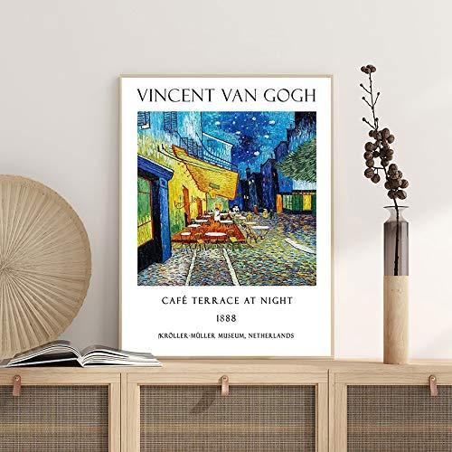 Póster de exposición de Van Gogh, terraza de café por la noche, decoración de pared, pintura decorativa sin marco, lienzo V 20x30cm