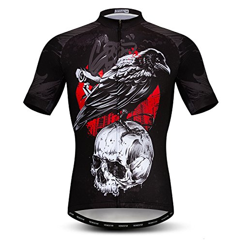 Weimostar Men's Cycling Jersey Short Sleeve Outdoor Pro Biking Riding Mountain Bike Shirt Top Breathable Skull Black Bicycle Clothing Size XL