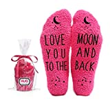 Love You to the Moon and Back Funny Socks - Cool Pink Fuzzy Novelty Cupcake Packaging for Her - Gift Idea for Mom, Wife, Sister, Friend, Aunt or Grandma - Birthday, Christmas Stocking Stuffer - 1 Pair…