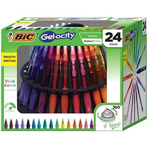 BIC Gel-ocity Original Retractable Gel Pen Spinner, Assorted Colors, 24-Count