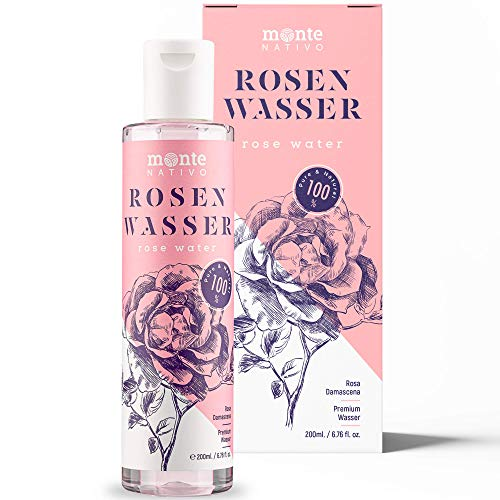 100% Pure Eau de Rose MonteNativo - 200ml - 100% Naturel, Lotion Tonifiante pour le visage, Hydrolat naturel de rose, Triple purification, eau florale de rose