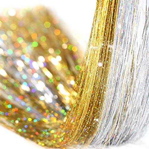 Haar Lametta Stränge Kit, Lametta Haar Verlängerungen, Funkelnde Glänzende Haar Lametta Verlängerungen (1200 Stränge, Goldene + Silber + Beige Silikon Gliederringe Perlen)