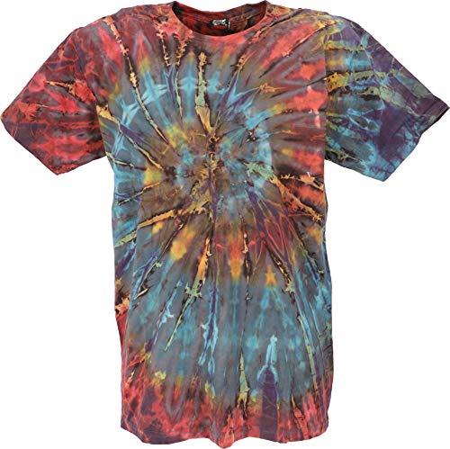 Preisvergleich Produktbild GURU SHOP Batik T-Shirt,  Herren Kurzarm Shirt,  Petrol / bunt Spirale,  Baumwolle,  Size:L,  Rundhals Ausschnitt Alternative Bekleidung