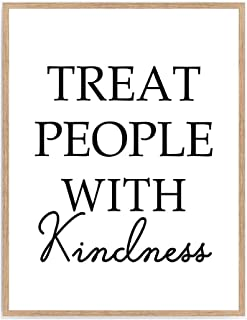 Treat People With Kindness Print, Quote Inspiration Gift Wall Poster, Positivity Typography Saying Home Décor 8x10 Unframed