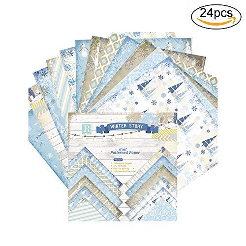 Xiton 24 hojas Papel de recortes Papel de cartulina floral Papel de origami vintage DIY Álbum Tarjeta de papel del libro de recuerdos Arte de papel para niños Papel de embalaje (Azul)