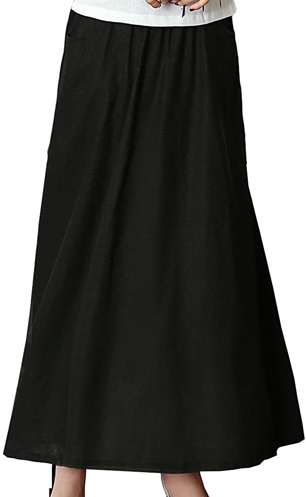 Shanghai Story Solid Ankle-Length Pleated Challenge the lowest price of Japan ☆ Maxi Indianapolis Mall Flax Long L Skirt