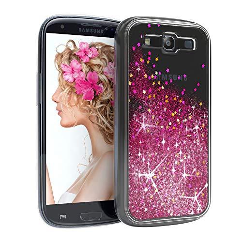 EAZY CASE Hülle kompatibel mit Samsung Galaxy S3 / S3 Neo Schutzhülle mit Flüssig-Glitzer, Handyhülle, Schutzhülle, Back Cover mit Glitter Flüssigkeit, aus TPU/Silikon, Transparent/Durchsichtig, Pink