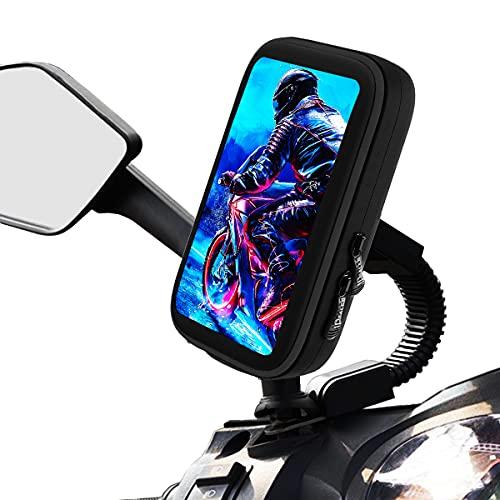 Handyhalterung motorrad roller wasserdicht befestigung am Rückspiegel mit wasserdichter Handytasche für handys bis zu 7