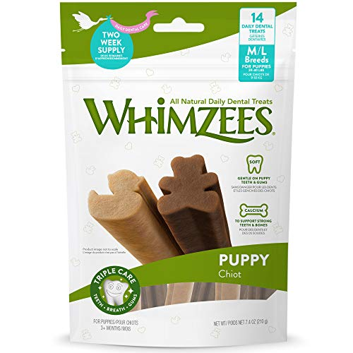 WHIMZEES Puppy Daily Dental Dog Treats, Medium and Large Breeds, Bag of 14