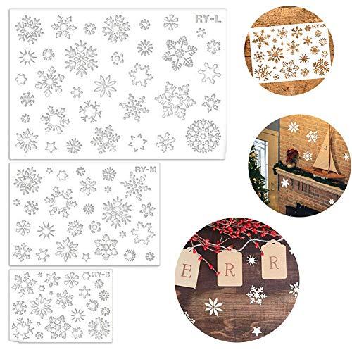QUUYPlantillas de Copos de Nieve Decoraciones de Navidad Conjuntos de Plantillas navideñas 3 Piezas, más de 30 Patrones de Copos de Nieve Plantilla de Nieve en Aerosol para Pintar