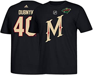 adidas Devan Dubnyk NHL Minnesota Wild Men's Black Name & Number Jersey T-Shirt