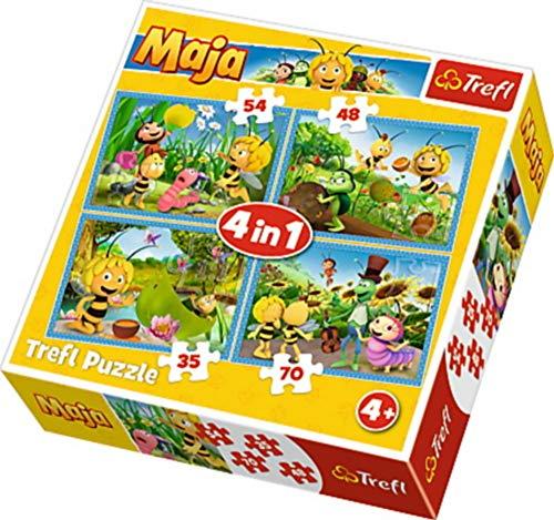 Trefl Puzzle 4 in 1 Biene Maja 35-48-54-70 Teile, 34320, Mehrfarbig