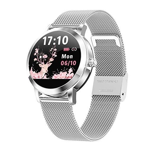 ZEIYUQI Precioso Reloj Inteligente para Mujeres,IP68 Resistente al Agua,Monitorización de La Salud Cardíaca,Notificación de Información,Smartwatch Compatible con Android 5.0,iOS 9.0 y Superior,Silver