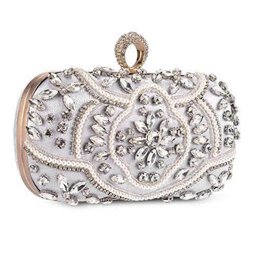 Bolso de Fiesta Pequeña Elegante Noche Diamantes de imitación Clutch Monedero del Banquete Bolso de Boda Cocktail,Plateado