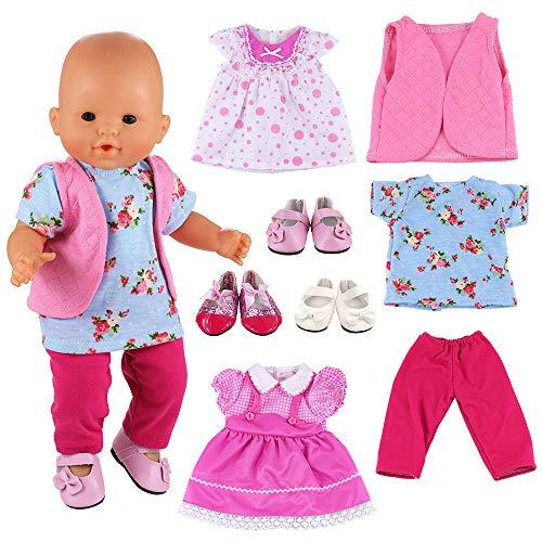 Miunana 3 Set Kleidung Puppenkleidung Kleider 3 Paar Schuhe für 36-40 cm 18 Inch American Girl Dolls Puppe