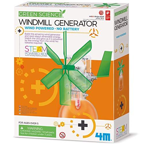 4M 3649 Green Science Windmill Generator Kit (Packaging May Vary) DIY Green Alternative Energy Lab - STEM Toys Educational Gift for Kids & Teens, Girls & Boys,Brown,1EA