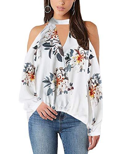 YOINS Damska koszulka z długim rękawem, odsłonięte ramiona, letnia górna część z dekoltem w kształcie litery V, koszulka z długim rękawem, koronkowa bluzka, cross z przodu