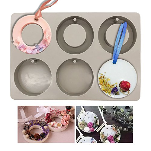 Silicone Wax Molds, KOOTIPS Round Ring Resin Jewelry Molds Making with Hanging Hole for DIY Jewelry Craft Making