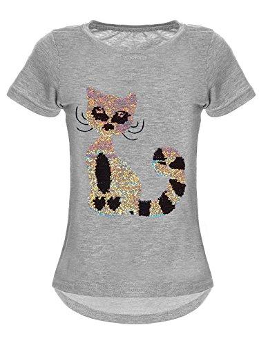 BEZLIT Mädchen Wende-Pailletten T-Shirt Katzen-Motiv Kurz-Arm 22590 Grau Größe 128