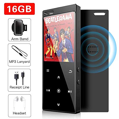 【Edición Mejorada Altavoz Incorporado】 Reproductor MP3 de 16GB, Bluetooth 4.2 Reproductor con Radio FM/Imagen/E-Book, Soporte Expandible hasta 64G (Auricular, Brazalete Deportivo Incluido)