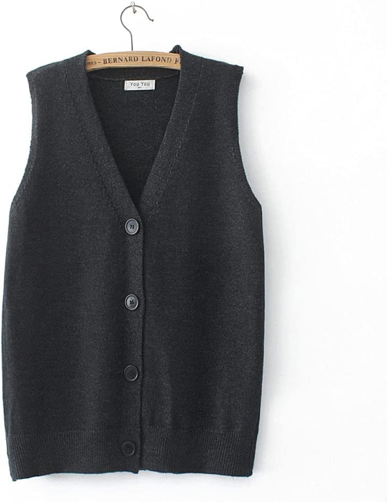 Sweater Vest,Ladies Sleeveless Knitted Gilets Casual Fashion Solid Color Plus Size Buttons Sleeveless Sweater Cardigan V Neck Tank Top Vest Preppy Style Knitting Sweater Waistcoat Autumn,Black Gray,X