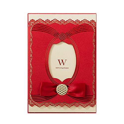 FUYY Personalisierte Hochzeitstag Einladung Hochzeitskarte - Bogen Mit Bedruckbaren Blankopapier Und Umschlag - Romantische Hochzeit (Packung Mit 50),Red