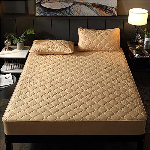 Funda de colchón,Protector de colchón Impermeable para niños de Color sólido 100{1374c9704d02a6067c86401ffe99bd19b50de2900d93e47ab151fd85fe2a8e76} algodón, sábanas Ajustables Extra Gruesas King a Prueba de orina-Camel_150x190 + 20cm