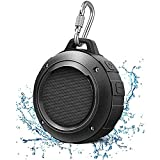Bluetooth Speaker, Waterproof Bluetooth Speaker with 6H Playtime, Loud HD Sound, Shower Speaker with Suction Cup & Sturdy Hook, Compatible with iOS, Android, PC, Pad(Black)