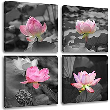 Black And White Lotus Flower 4 Panel Canvas Print Wall Art Painting