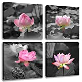 Black and White Flower Canvas Wall Art Print Paintings Pink Lotus Pictures Floral Artwork for Decor 4 Panels Stretched