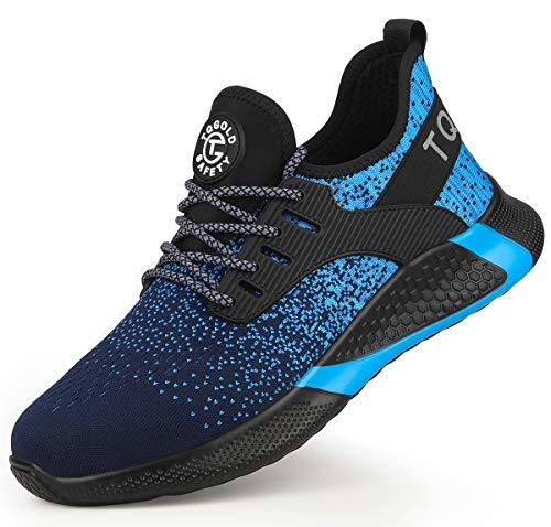 tqgold Zapatos de Seguridad Hombres Mujeres Zapatos de Trabajo S3 con Zapatillas con Punta de Acero Zapatos Protectores Transpirables Ligeros Zapatillas Deportivas (Azul, 41)