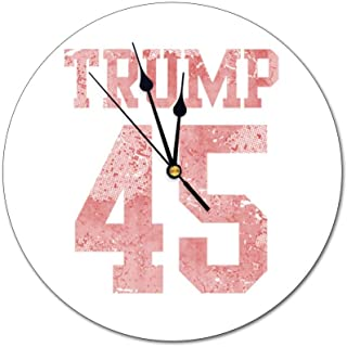 HFL Trump 45th President Inauguration Non-Scale Wall Clock Battery Drive, Silent Decorative Wall Clock, Kitchen Wall Clock, Suitable for Office/Kitchen/Bedroom/Living Room/Classroom