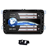 8 Inch Car Stereo Double 2 Din Audio Radio for VW Volkswagen Amarok Caddy Golf Passat GPS Navigation CD DVD Player RDS USB SD BT Steering Wheel Control Canbus Map Card with Free Backup Camera
