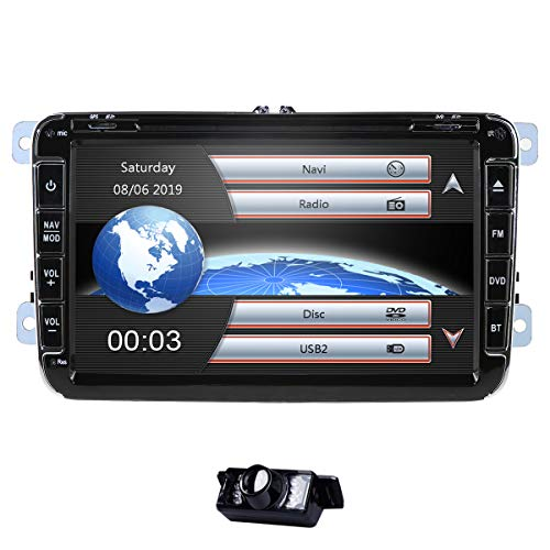 8 Zoll 2 Din Autoradio Passt für Kompatibel mit Golf Skoda Seat Wince System DVD Player GPS Navigation FM AM Radio Bluetooth USB SD unterstützt Park Kamera Lenkrad Bedienung 1080P