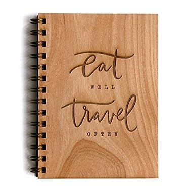 Eat Well Travel Often Laser Cut Wood Journal (Notebook / Birthday Gift / Gratitude Journal / Handmade)