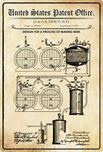 Blechschild 20x30cm gewölbt Patent Entwurf Bier Brauanlage 1893 Deko Geschenk Schild