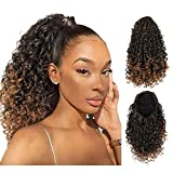 AISI BEAUTY Curly Ponytail Extension for Black Women Drawstring Ponytail Hair Extensions Mix Brown Drawstring Curly Ponytail with 2 Clips in