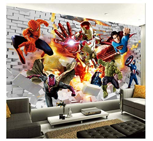 WallDiy Avengers Wallpaper Papel tapiz fotográfico 3d Hulk Iron Man Superman Mural de pared Niño Dormitorio Papel tapiz de ladrillo para paredes Tv Decoración de fondo
