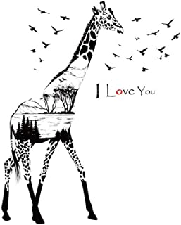 QHB Silhouette Giraffe r Wall Stickers Decals Children's Room Home Decoration Art,Decorative Paper Murals for Home,Bathroom,Livingroom,Kids/Girls Bedroom,Nursey,Party Décor Clearance