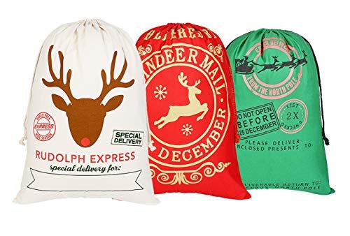 KEFAN Sacchetto di Natale 3 Pezzi Sacchetto di Natale per Regali Sacchetto Grande di Babbo Natale con Cordino 70 x 50 cm (Modello 5)