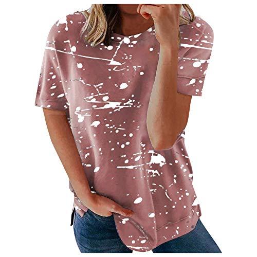 VEMOW Camisas Blusas de Mujer Tallas Grandes Manga Corta, Deportivo Nuevo Verano Camiseta Blusa Casual Basica Cómodo Camiseta Larga con Cuello Redondo Suelto Fiesta T-Shirt Original Tops(A Rosa,5XL)