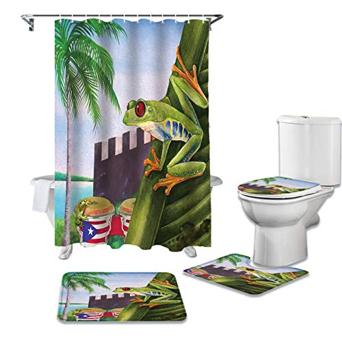 BANLV Juego de Cortina de Ducha de Plantas Tropicales de Puerto Rico, Alfombra Antideslizante, Cubierta de Inodoro y Alfombra Antideslizante para baño, Juego de Cortina de baño