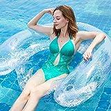 [page_title]-Ecisi Sitzen Sie aufblasbare Lounge Float, tragbare Pool Float, aufblasbare Bett Schwimmen schwimmende Reihe sitzen klare Handlauf Rückenlehne schwimmende Liege für Freibad Lake Beach