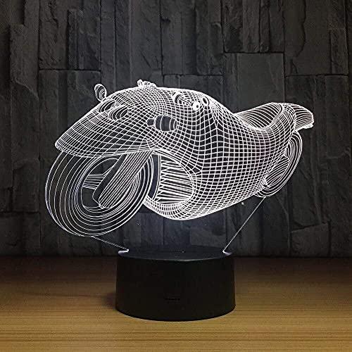 Acrílico 7 Colores Carreras De Motos Efectos Visuales En 3D Luz Nocturna Led Protección Ocular Luz Del Dormitorio Luz De La Sala De Estar Luz De La Atmósfera Luz Del Escritorio Decoración De La Mesa