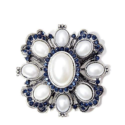 kliy Joyería para Mujer Llegada Broches Cruzados De Perlas De Diamantes De Imitación De Color Azul Marino para Mujeres Abrigo De Joyería Broche De Moda Vintage Pin Regalo